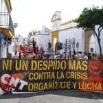 La CNT-AIT toma las calles de Tomares contra la crisis y la dictadura empresarial.