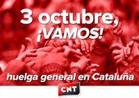 3 de octubre: ¡vamos a la huelga general en Cataluña!