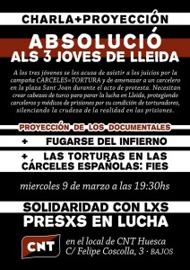 """[CNT-Huesca] 9 DE MARZO: CHARLA ANTIRREPRESIVA + PROYECCIÓN. CASO DE """"ELS 3 JOVES DE LLEIDA"""""""