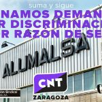 [CNT-Zaragoza] CNT gana una demanda por discriminación por razón de sexo contra Alumalsa, que deberá indemnizar a la trabajadora