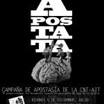 """[CNT-Zaragoza] Viernes 5-D: Campaña Apostasía y proyección de """"La vía láctea""""."""