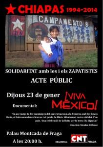 Solidaridad con l@s Zapatistas, acto público, jueves 23 de enero, CNT Fraga