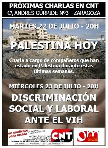CHARLAS JULIO CNT ZARAGOZA - 22-23-julio