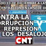 [CNT-Zaragoza] Concentración 13-D contra la corrupción, la represión y los desalojos