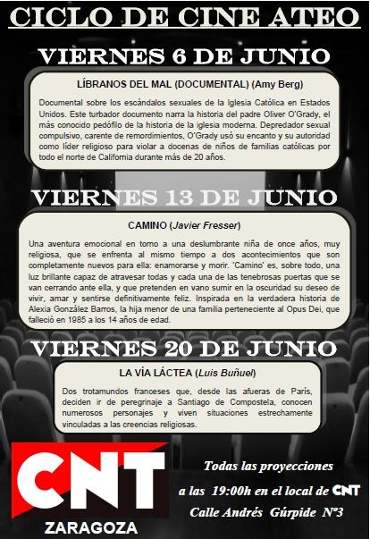 CNT-Zaragoza - Ciclo de cine Ateo