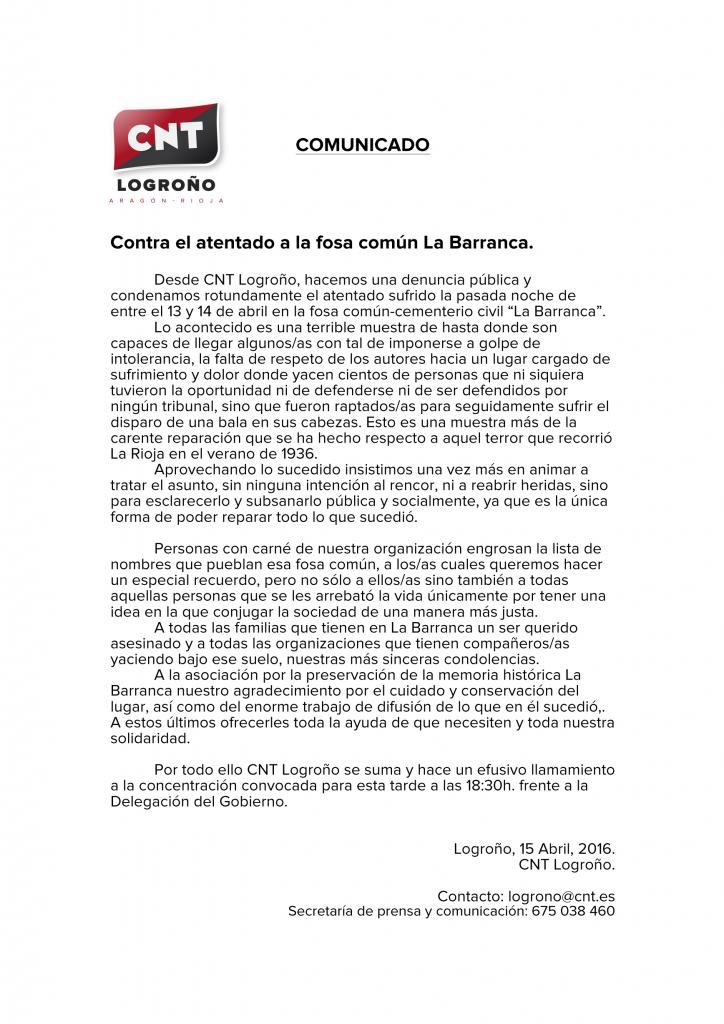 COMUNICADO Contra el atentado en La Barranca