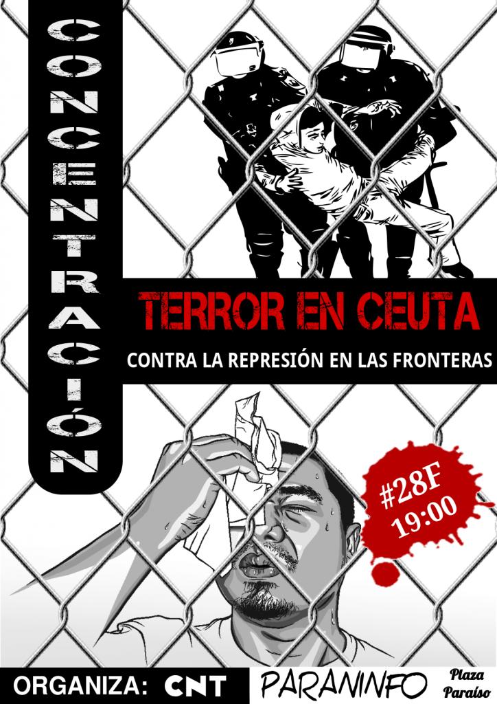 Cartel CNT Zaragoza contra la masacre de Ceuta