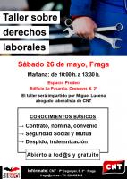 [CNT-Fraga] Taller sobre derechos laborales en Fraga, sábado 26 de mayo