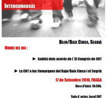 Conferencia Anarcosindicalista Intercomarcal, 17 de Septiembre en Fraga