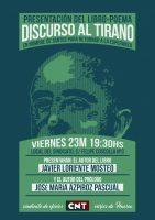 """[CNT-Huesca] Presentación del libro-poemario """"Discurso al Tirano"""" de Javier Loriente"""