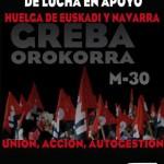 30-M Jornada de lucha en apoyo a la Huelga en Euskadi y Navarra