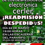[CNT-Zaragoza] Continúa el conflicto con Electrónica Cerler por el despido represivo de un compañero.