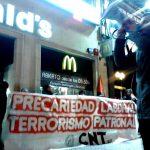 [CNT-Zaragoza] Piquete informativo en McDonald's por la readmisión de la compañera despedida en León