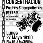 [Zaragoza] Concentración por la libertad de l@s 5 detenid@s en Cataluña