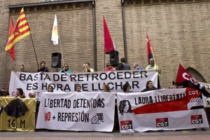 [Zaragoza] Concentración por la libertad huelguistas 29M