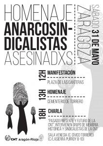 [Aragón-Rioja] 31 de mayo: homenaje a l@s anarcosindicalistas asesinad@s en Torrero