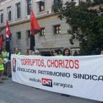 CNT-Zaragoza se concentró en Madrid contra la subasta de Patrimonio Sindical