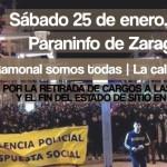 [CNT-Zaragoza] Manifestación por la retirada de cargos a los 8 detenidos y el fin del estado de sitio en Zaragoza.